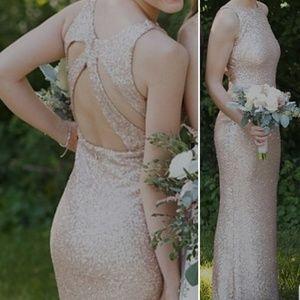 Sorella Vita rose gold bridesmaid prom dress